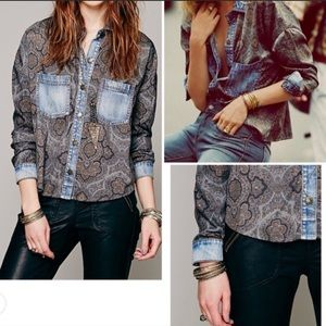 Free People Paisley and Denim Top